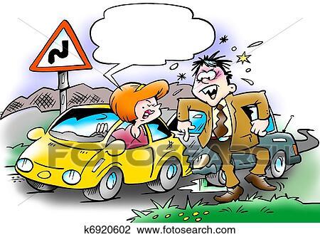 Clipart voiture collision entre deux automobilistes - Dessin humoristique voiture ...