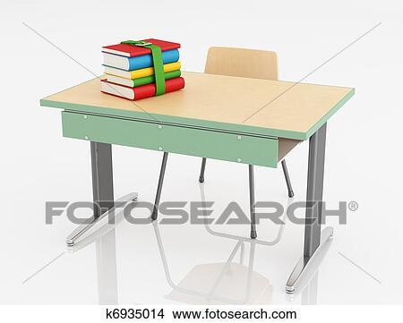 学校机 そして 椅子 イラスト K6935014 Fotosearch