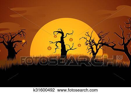 A Terrifiant Cimetière Halloween Fond Scene Spooky Arbres Chauves Souris Feuilles Dessin