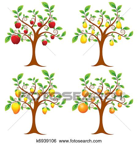 Clip art albero frutta k6939106 cerca clipart poster for Clipart frutta
