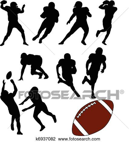 Clipart Of American Football Silhouettes K6937082