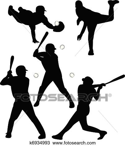 Clipart Of Baseball Players K6934993