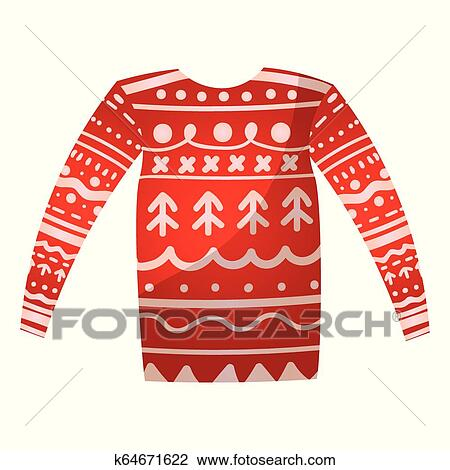 Christmas Sweater Clipart.Beautiful Cute Christmas Sweater With Festive Decorations Knitted Winter Sweater Clipart