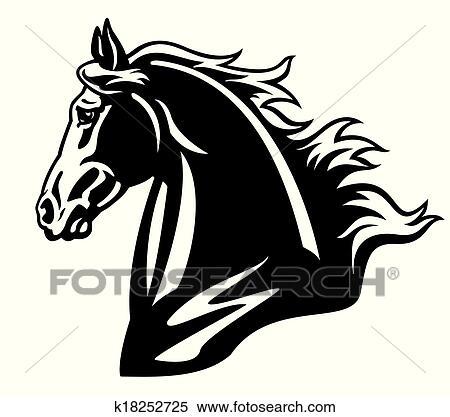 Clipart cheval t te noir blanc k18252725 recherchez des clip arts des illustrations des - Clipart cheval ...
