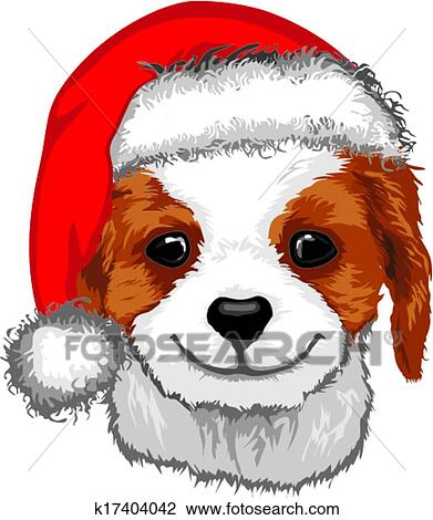 Clipart Of Cute Puppy In Santa Hat K17404042 Search Clip Art