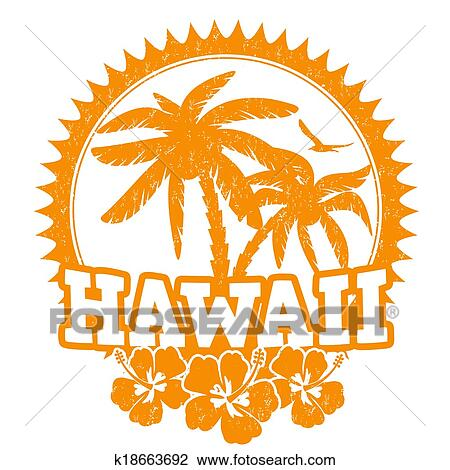 Clipart Of Hawaii Stamp K18663692