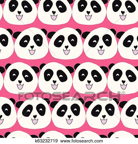 Kids pattern Panda bear seamless vector repeat. Cute animal illustration on pink background for girl. For fabric, paper, room decor, wallpaper, school, ...