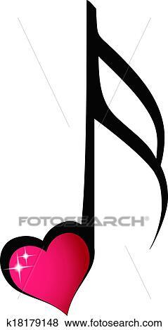 Dessin Note De Musique clipart - note musique, à, brillant, coeur k18179148 - recherchez