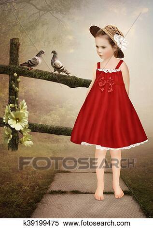 Petite Fille Dans A Chapeau Paille Banque D Illustrations
