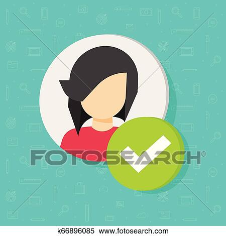 Profile with checkmark icon vector, flat woman user account accepted symbol  with tick, approved or applied person sign, validation verified pictogram,