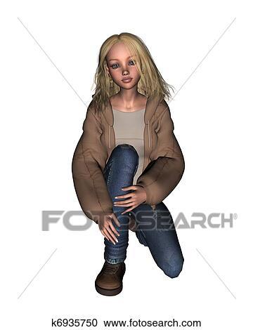 big sale 1c196 24b3d Ragazza, in, giacca, e, jeans, -, 2 Clipart