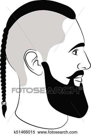 Viking, coupe, mode, homme, signe, à, tresse, et, barbe
