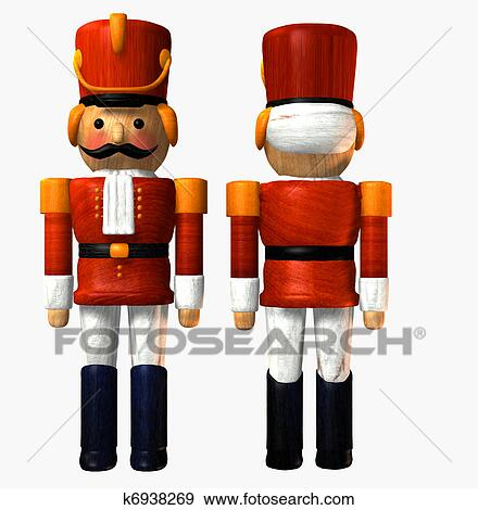 Wooden Toy Soldier In Red Stock Illustration