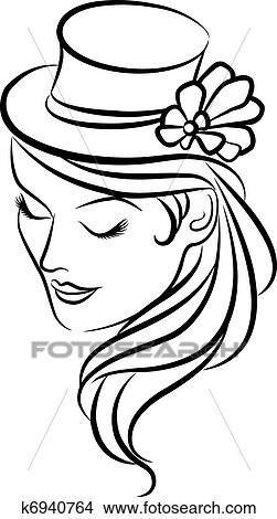 Kresby Zena Do Klobuk A Kvet K6940764 Prehľadavaj Klip Art