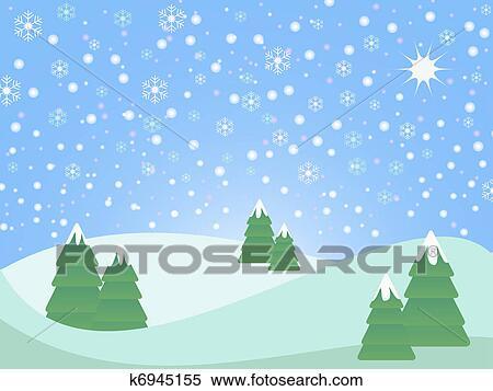 雪が多い クリスマス 風景 イラスト K6945155 Fotosearch