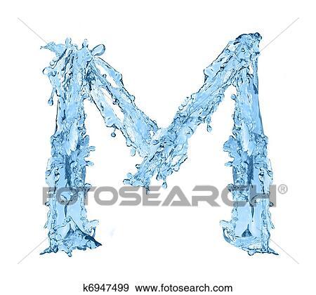 Colección de ilustraciones - alfabeto, hecho, de, agua congelada ...