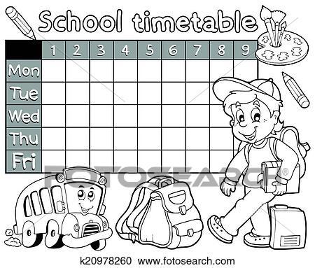 Clipart Ausmalbilder Schule Fahrplan 1 K20978260 Suche Clip