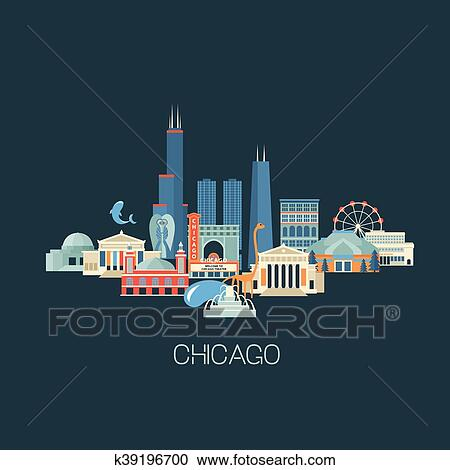 Chicago skyline with color buildings and reflections. vector illustration.  business travel and tourism concept with modern