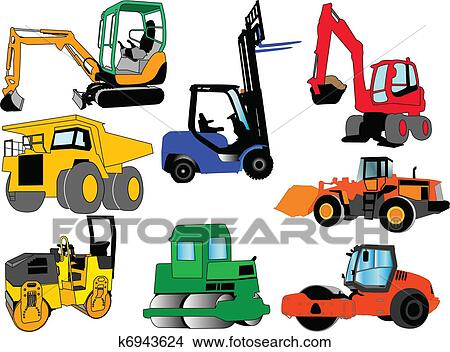 clipart of collection of construction machines k6943624 search rh fotosearch com  construction equipment clipart images