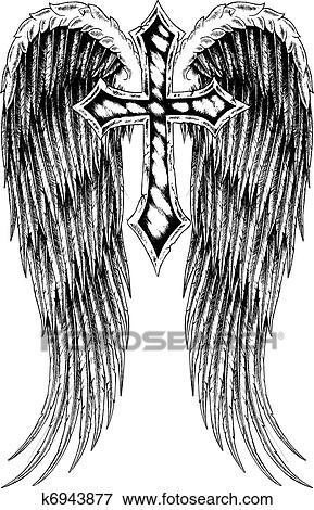 Crucifixos Asa Emblema Arquivos De Ilustração