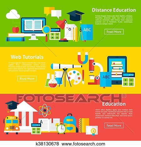 Distance Education And Web Tutorials Flat Horizontal Banners Clip Art K38130678 Fotosearch