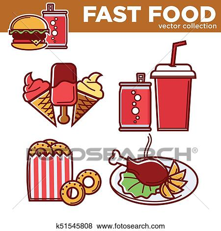 Clip Art Of Fast Food Vector Collection Of Sweet And Salty Dishes