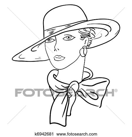 clipart of hand drawn fashion model vector illustration woman s