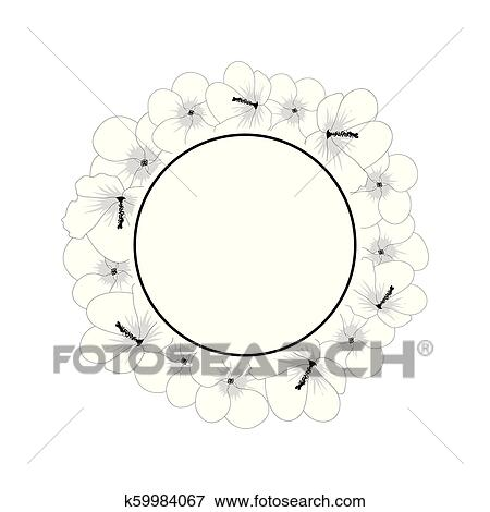 Hibiscus Syriacus Flower Outline Rose Of Sharon Banner Wreath Clip Art