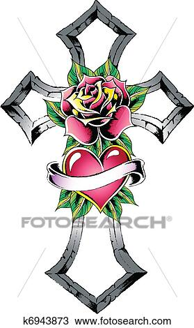 Clipart of cross heart rose ribbon