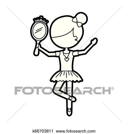 Little Girl Dancer Ballet Holding Princess Mirror Clipart K66703811 Fotosearch