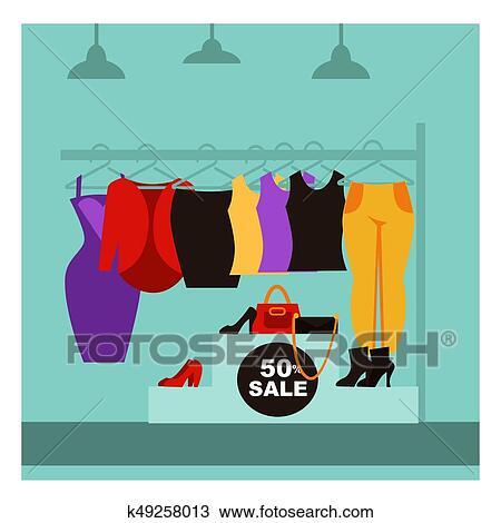 Moda Loja Roupa Ou Mulher Vestido Boutique Venda Vetorial Apartamento Desenho Clipart