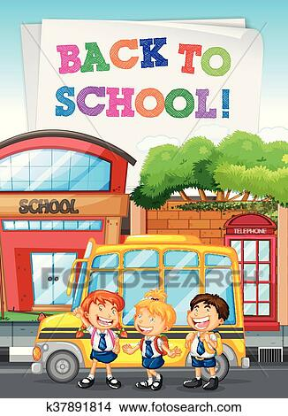 Students Standing By The School Bus Clipart K37891814 Fotosearch
