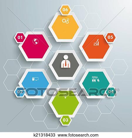 スケッチ - 6, 有色人種, 六角形...