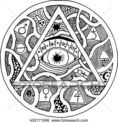 Clip Art Of All Seeing Eye Pyramid Symbol In Tattoo Engraving Design