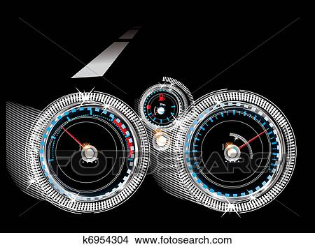 Armaturenbrett auto  Clipart - armaturenbrett, auto, -, tachometer ...