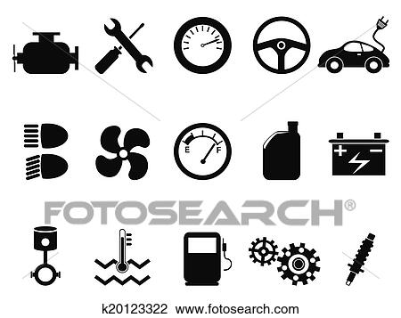 Clipart Of Car Engine Icons Set K20123322 Search Clip Art