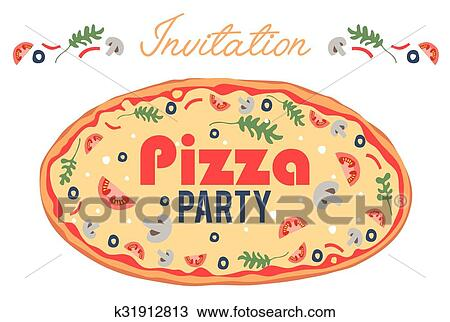 clipart of pizza party invitation poster flyer card dinner social