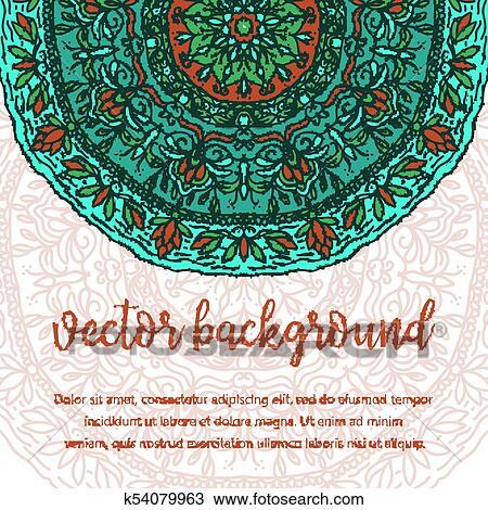 Enement Invitation Template | Clipart Of Square Invite Template Vector Invitation With Mandala