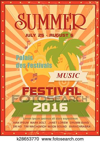 clipart of summer music festival printable poster template or web