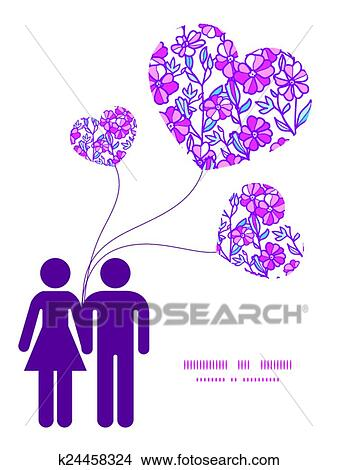 Clipart of Vector vibrant field flowers couple in love silhouettes ...