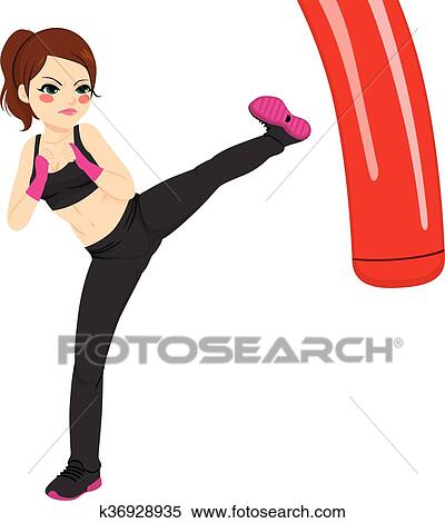 clipart of woman practicing kickboxing k36928935 search clip art