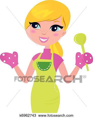 料理 母 準備 健康 緑 食物 隔離された 白 クリップアート
