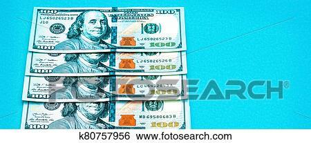 A, rang, de, cent, dollar américain, factures, dans, gros ...