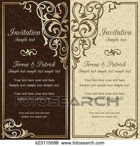 Clip Art Barock Hochzeitskarten Braun K23115598 Suche Clipart