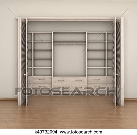 Merveilleux Drawing   Empty Room Interior And Empty Big Closet; 3d Illustration.  Fotosearch   Search