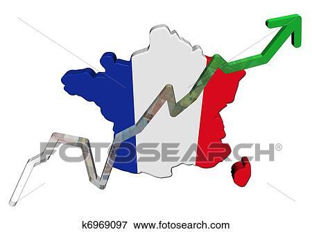France Map Flag.Stock Illustration Of Euros Graph On France Map Flag Illustration