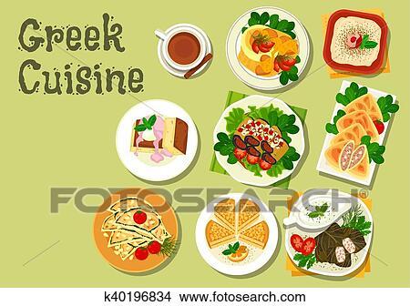 Greek Cuisine Lunch Dishes For Menu Design Clipart K40196834