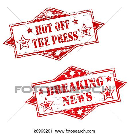 Clipart Of HOT OFF THE PRESS And BREAKING NEWS K6963201