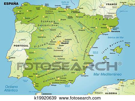 Karta Pa Spansk.Karta Av Spanien Clipart K19920639 Fotosearch