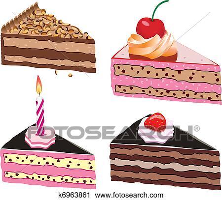 Clipart Kuchen Scheiben K6963861 Suche Clip Art Illustration